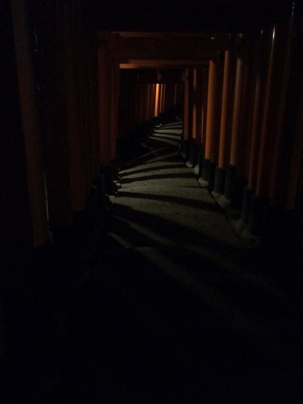 ほとんど灯りがない参道