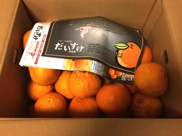 「愛媛だいすけ果樹園」の段ボール箱を開けたところ