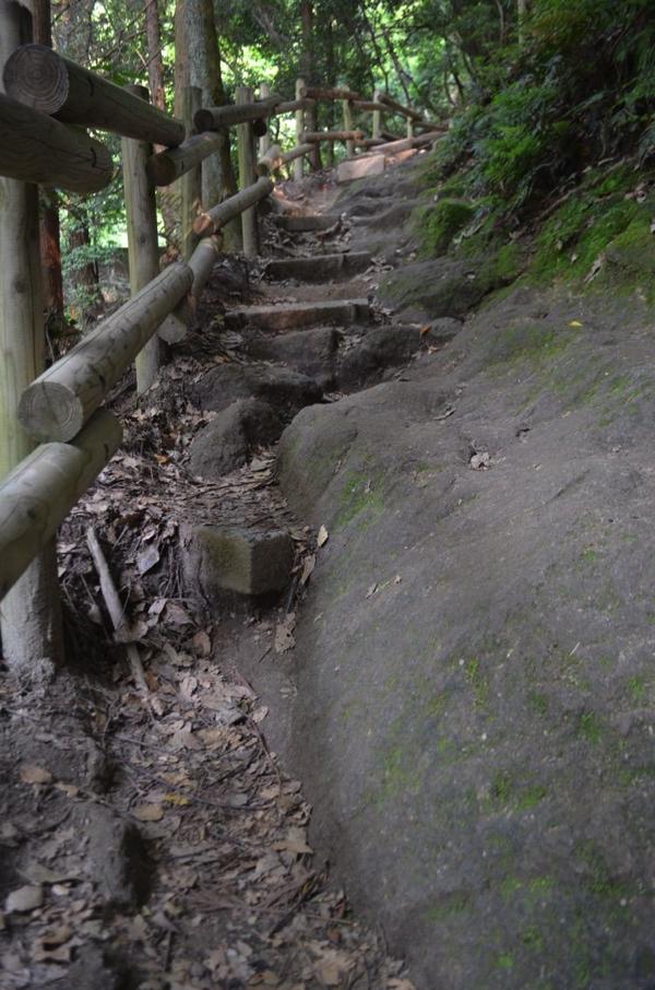 細い登山道を大きな岩が占拠!
