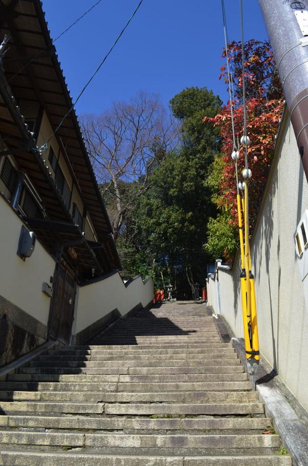 船岡山にある建勲神社は参道が急!