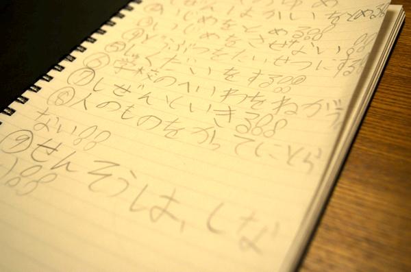 娘がノートに書き出した自分の夢