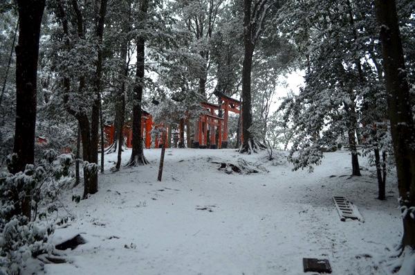雪の日の稲荷山「三ツ辻」