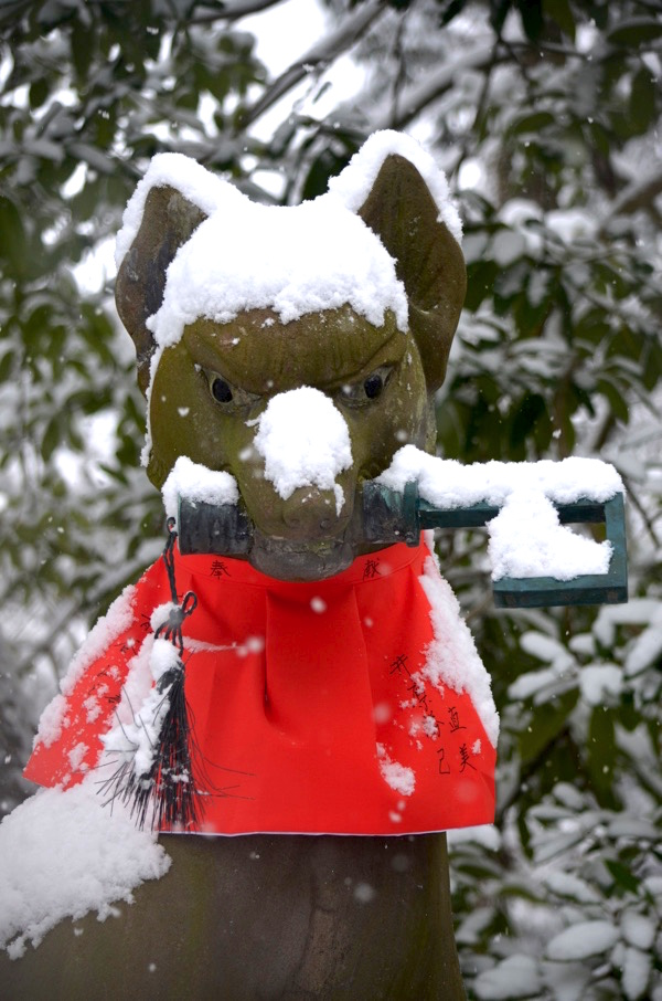 雪の日の伏見稲荷のきつね像