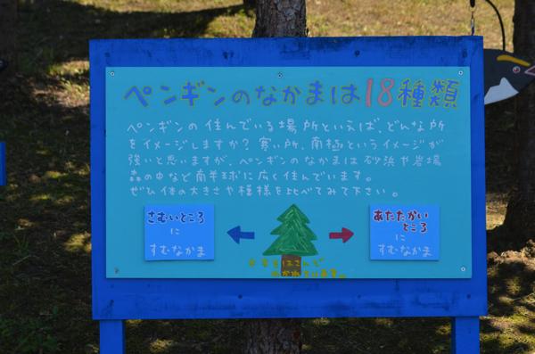 ペンギンが住んでいる場所を紹介する看板
