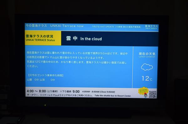 雲海テラスの情報がリアルタイムで更新されている