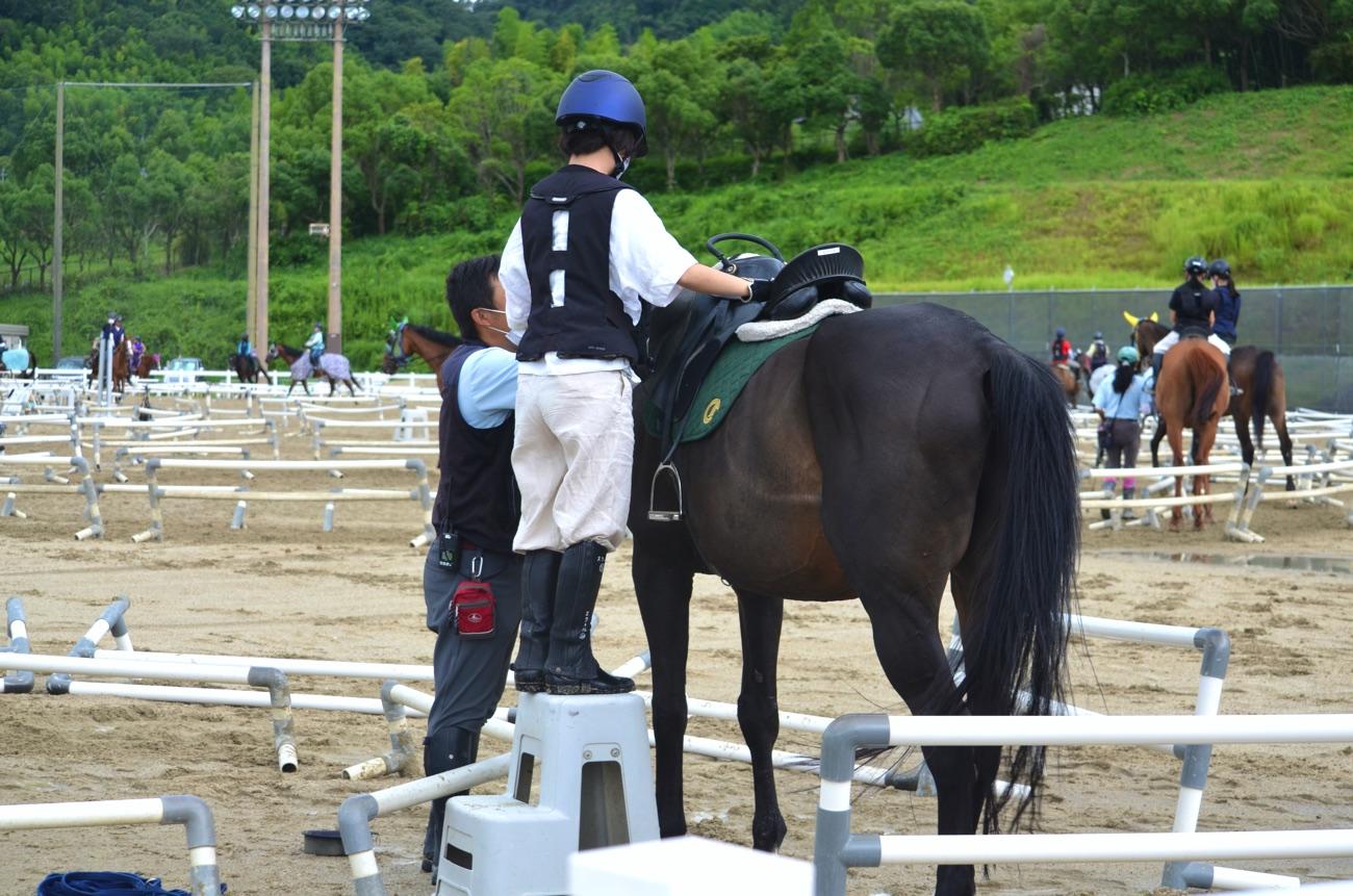 踏み台を使って馬に乗る