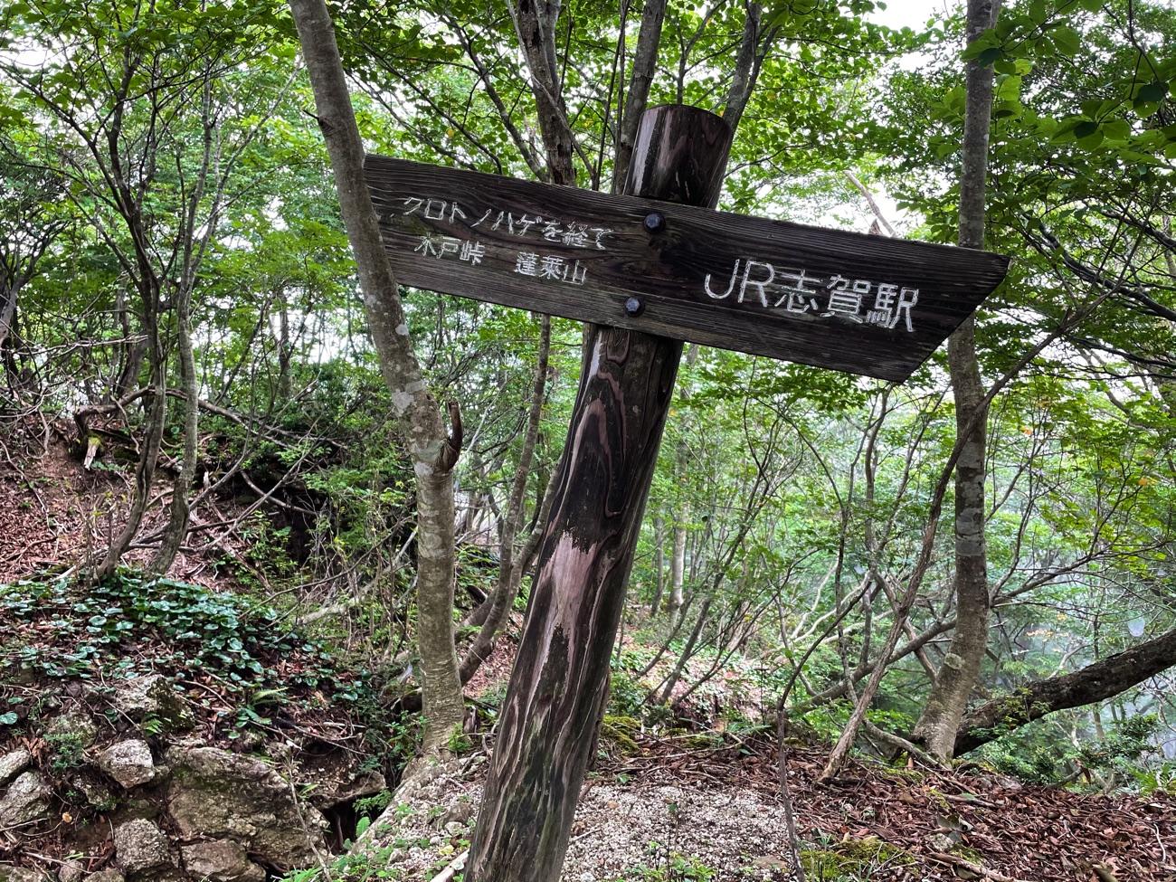 「蓬莱山」の文字がある道標