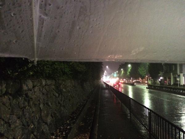 傘をさして京都御苑へ向かう