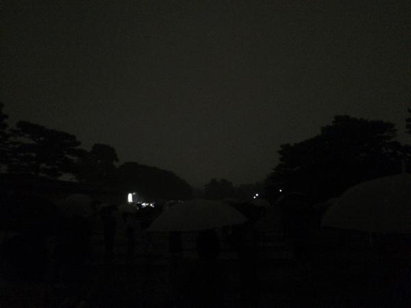 大文字点火から5分後のようす(京都御苑)