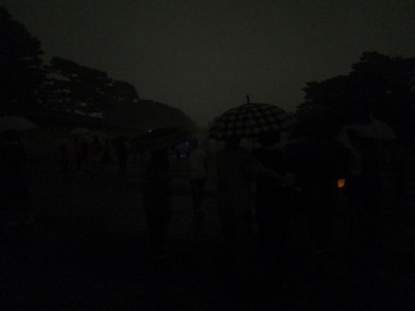 大文字点火から10分後のようす(京都御苑)