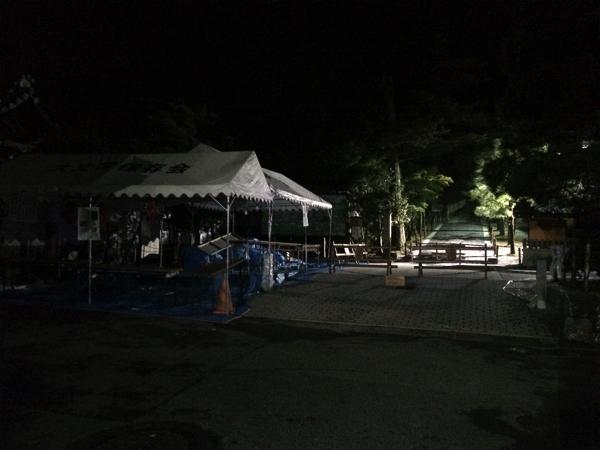 慈照寺銀閣の前には五山送り火のテントが残されていた
