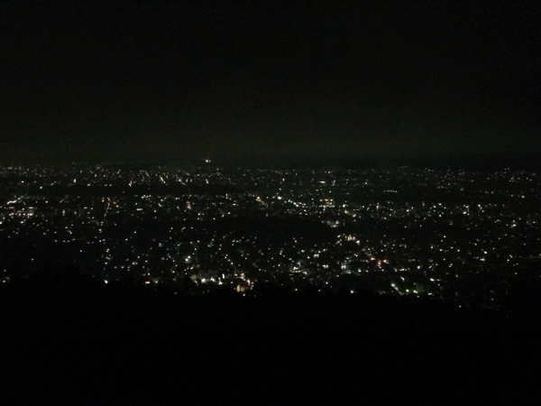 如意ヶ嶽の火床からの夜景