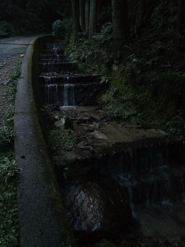 登山道の横を流れる小川