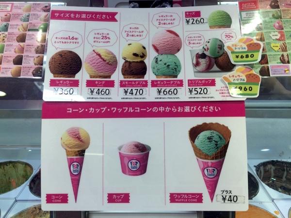 サーティワンアイスクリームの種類と料金