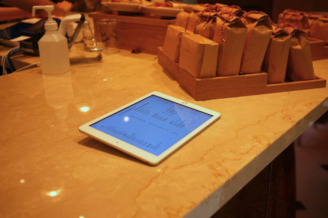 iPadにメニューが表示されている