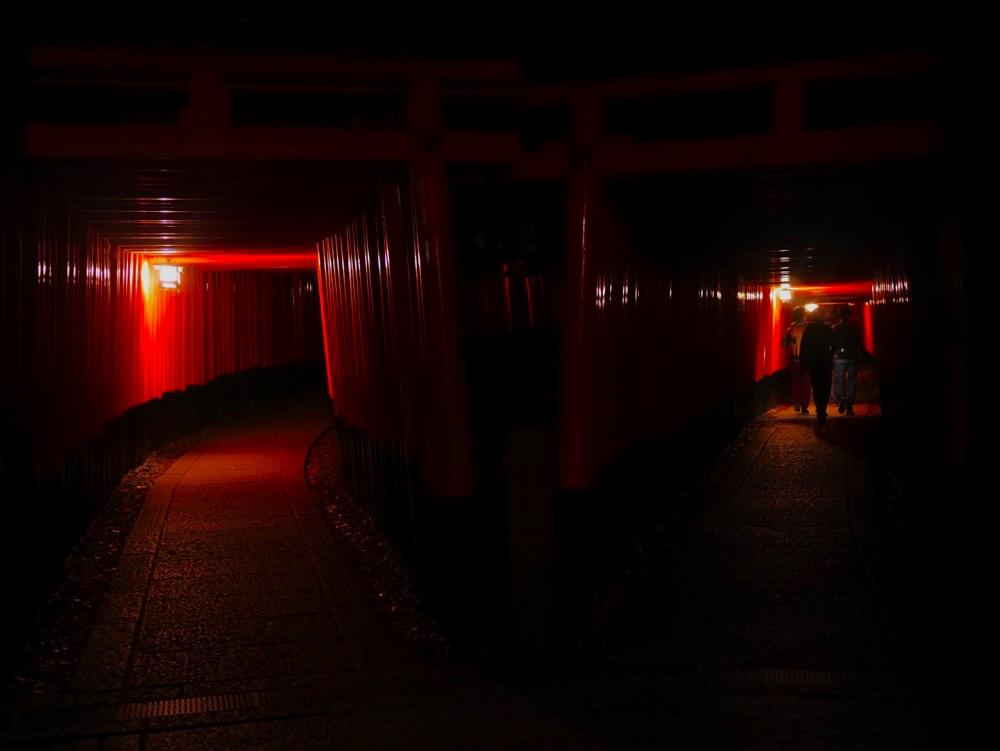 幻想的な朱色のトンネルも夜は…