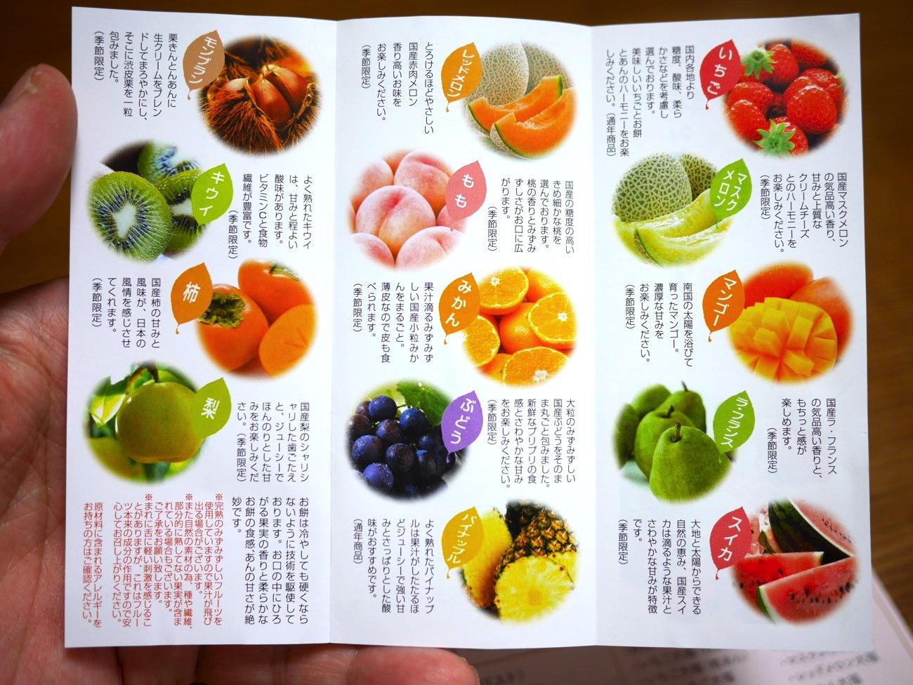 「完熟フルーツ大福」の種類