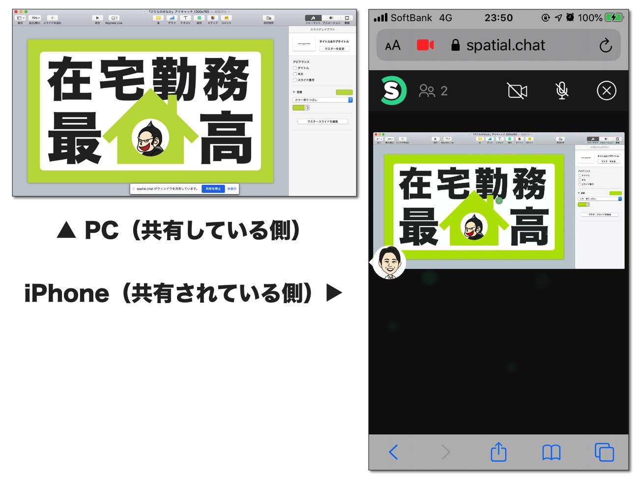 「アプリケーション ウィンドウ」を共有された側の画面